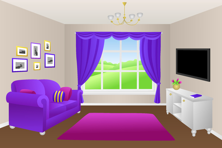 violet residential: Living room sofa pillows lamps window illustration vector Illustration