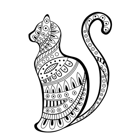 black and white image drawing: Abstract black white cat pattern illustration vector
