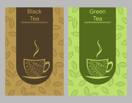 green and black: Green black tea cup card illustration vector