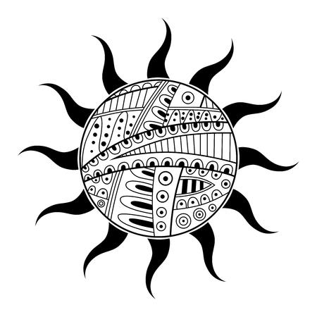 sun background: Abstract black white sun pattern illustration vector