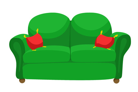 green sofa: Furniture green sofa red pillow isolated illustration vector