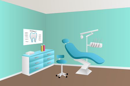 office chair: Dentist office clinic blue room illustration vector