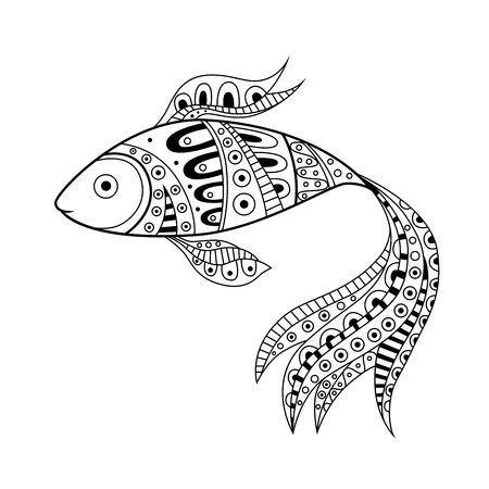 outline fish: Abstract black white fish pattern illustration vector Illustration