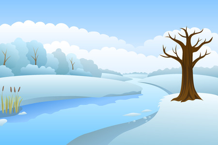 snow and trees: River winter landscape day illustration vector