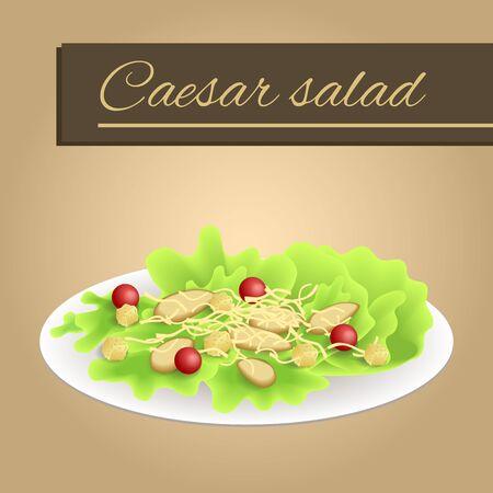 chicken caesar salad: Background food chicken Caesar salad tomato crackers cheese green red orange yellow beige frame illustration vector
