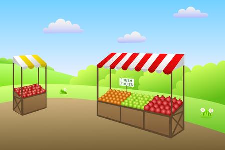 market place: Market place street food fruit vegetable illustration vector