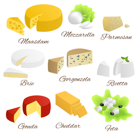 Cheese isolated food set different types illustration vector Иллюстрация