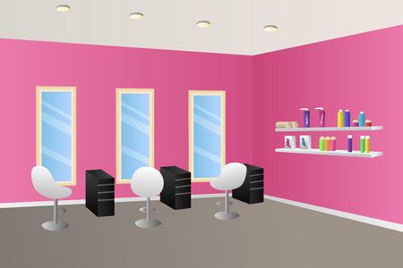 理髪サロン ピンクのインテリア部屋イラスト  イラスト・ベクター素材