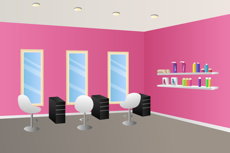 Hairdressing salon pink interior room illustration vector