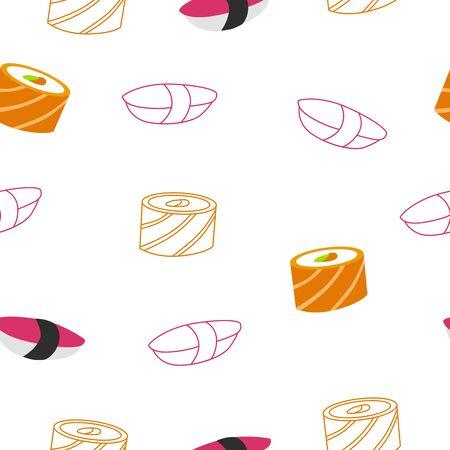 fish food: Sushi roll food seamless pattern pink orange illustration vector Illustration