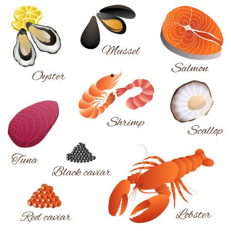 limon caricatura: Mar del pescado para consumo humano camarones mejillones ostras salm�n langosta at�n caviar negro rojo conjunto de vieira ilustraci�n vectorial