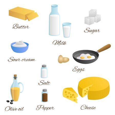 sour: Food milk egg butter cheese olive oil sour cream salt pepper sugar set illustration vector Illustration