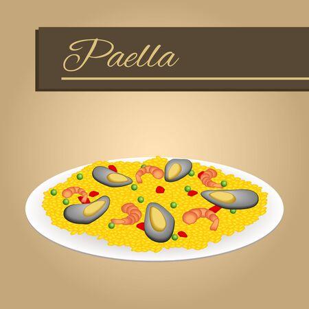 shellfish: Abstract background food paella rice peas pepper shrimp mussel beige frame illustration vector Illustration