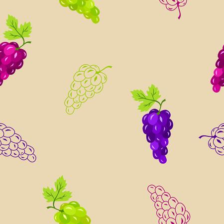 cartoon eating: Grapes seamless pattern blue pink green illustration vector