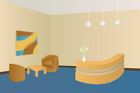 hotel lobby: Hotel blue lobby reception interior illustration vector