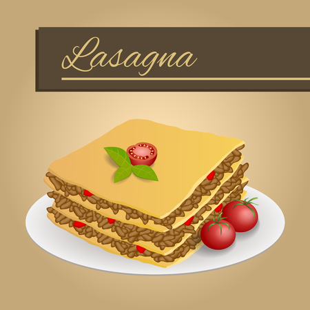 lasagna: Abstract background lasagna food meat tomato red yellow beige frame illustration vector