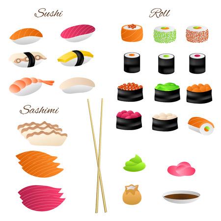 kitchen cartoon: rollo de sushi comida japonesa conjunto ilustraci�n vectorial