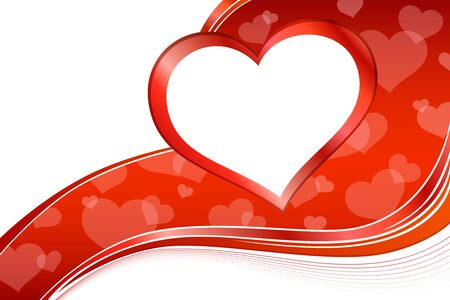 cartoon banner: Background abstract red heart frame illustration vector