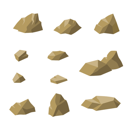 small group of objects: Stones beige small rocks set isolated illustration vector