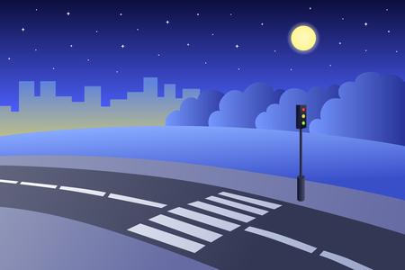 paso de cebra: Paso de peatones por carretera paisaje nocturno ilustraci�n vector verano Vectores