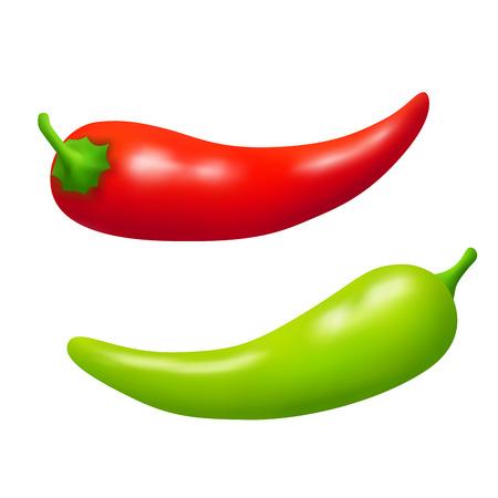 green pepper: Chili pepper red green vegetable isolated Illustration