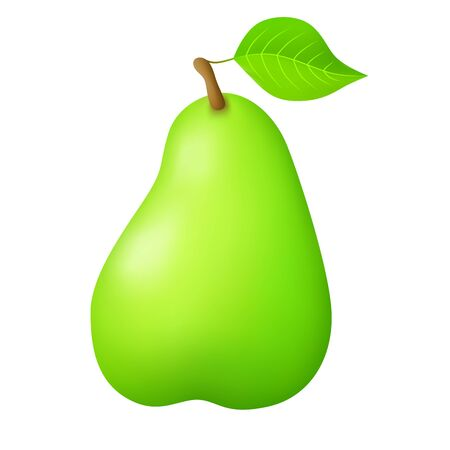 comiendo fruta: Pear green fruit food isolated illustration vector