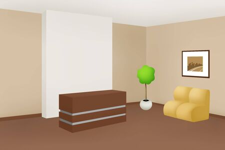 office cabinet: Interior office room reception beige cabinet illustration vector