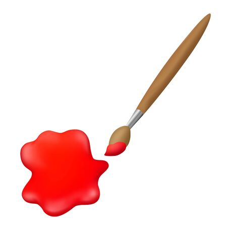 paint drop: Art brush red paint drop isolated illustration vector Illustration