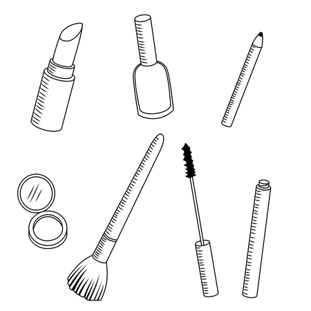pomade: Cosmetics make up black white pomade nail polish mascara pencil powder Illustration