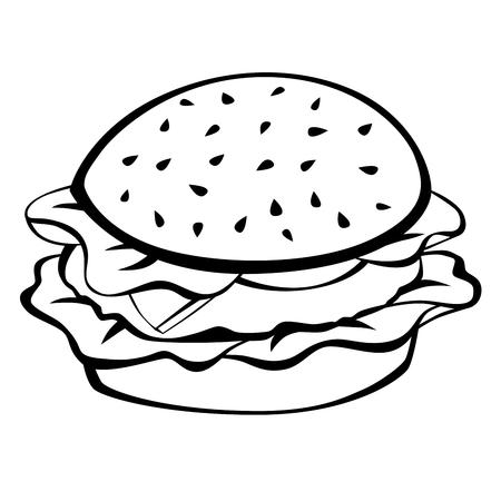 Nero bianco hamburger cibo isolato vettore illustrazione Vettoriali