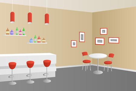 bar interior: Interior cafe bar coffee shop beige red illustration vector Illustration