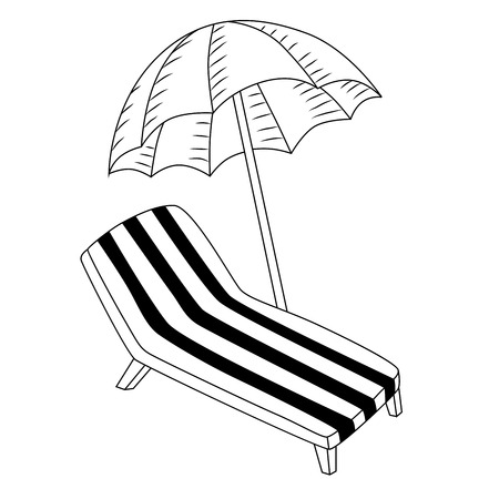 deck chair: Vacation deck chair umbrella black white isolated illustration vector Illustration
