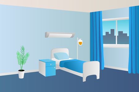 beds: Hospital ward clinic room interior illustration Illustration