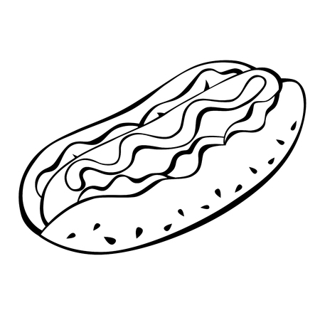 shapes cartoon: Hot dog black white food isolated illustration