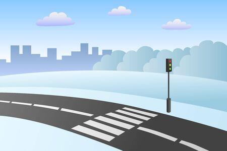 crosswalk: Crosswalk road landscape winter day illustration