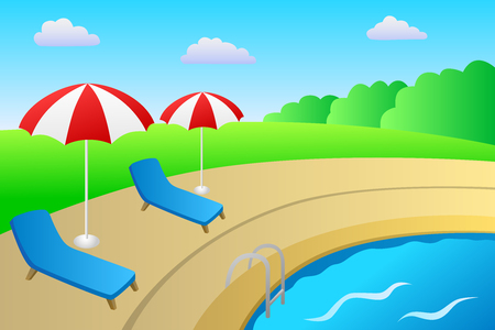deck chair: Swimming pool vacation deck chair umbrella landscape summer day illustration