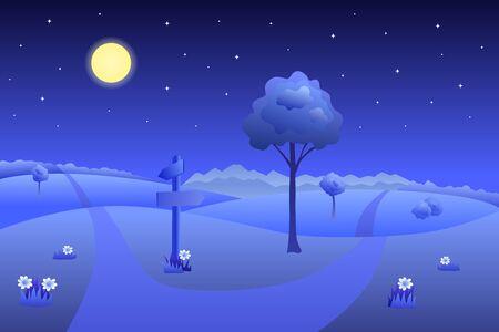 night road: Meadow summer landscape night road way mark illustration