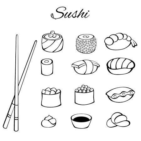 fish food: Sushi food set black white isolated illustration