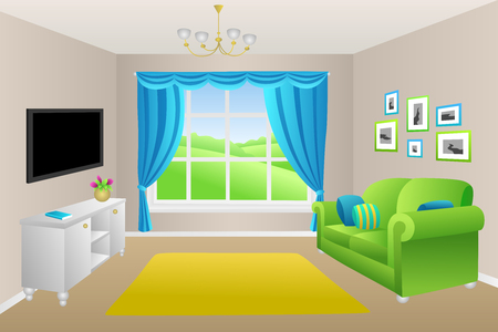 Living room blue green sofa pillows lamps window illustration