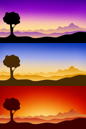 pink hills: Landscape silhouette nature tree sunset sunrise illustration
