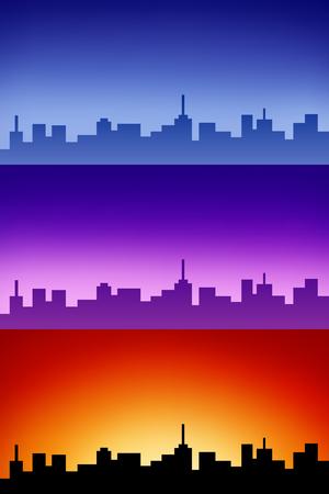 sunrise sky: Landscape silhouette city sunset sunrise sky illustration