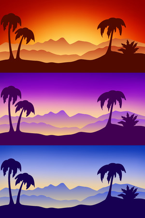 pink hills: Landscape desert silhouette nature palm sunset sunrise illustration