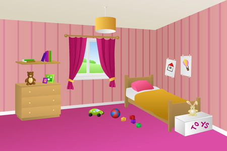 toy chest: Kid bed pink room interior toys window illustration