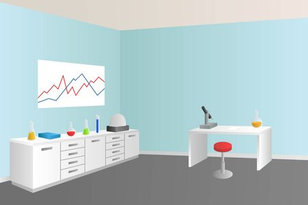 Laboratory blue room interior illustration
