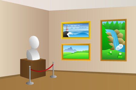 museum: Museum beige room interior illustration