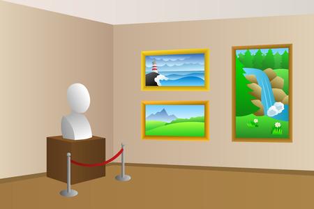 Museum beige room interior illustration
