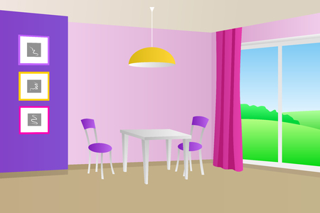 violet residential: Kitchen room violet pink interior table chair window illustration vector