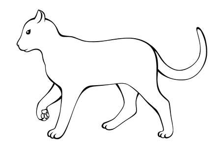 Cat black white isolated illustration vector