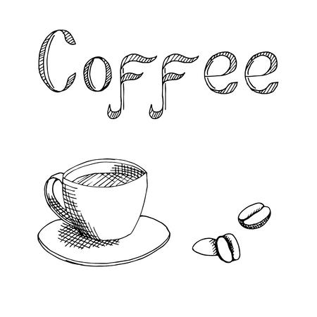 black coffee: Coffee cup graphic art black white illustration vector Illustration