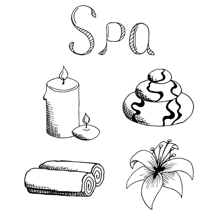 set in stone: Spa set stone candle towel lily graphic art black white illustration vector